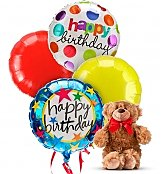 Balloons & Bear: Birthday Balloons & Bear-4 Mylar
