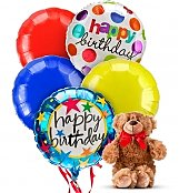 Balloons & Bear: Birthday Balloons & Bear-5 Mylar